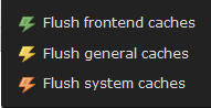"""clear cache"" buttons of TYPO3 CMS"